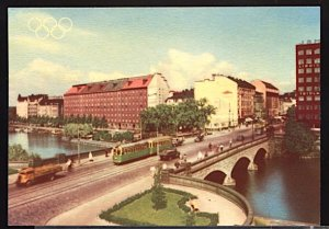 1952 Summer Olympics Helsinki Views of Helsinki Pitkasilta Bridge Trolley Tram
