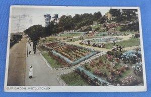 Vintage Postcard Cliff Gardens Westcliff-On-Sea  Postmarked 1945 B1