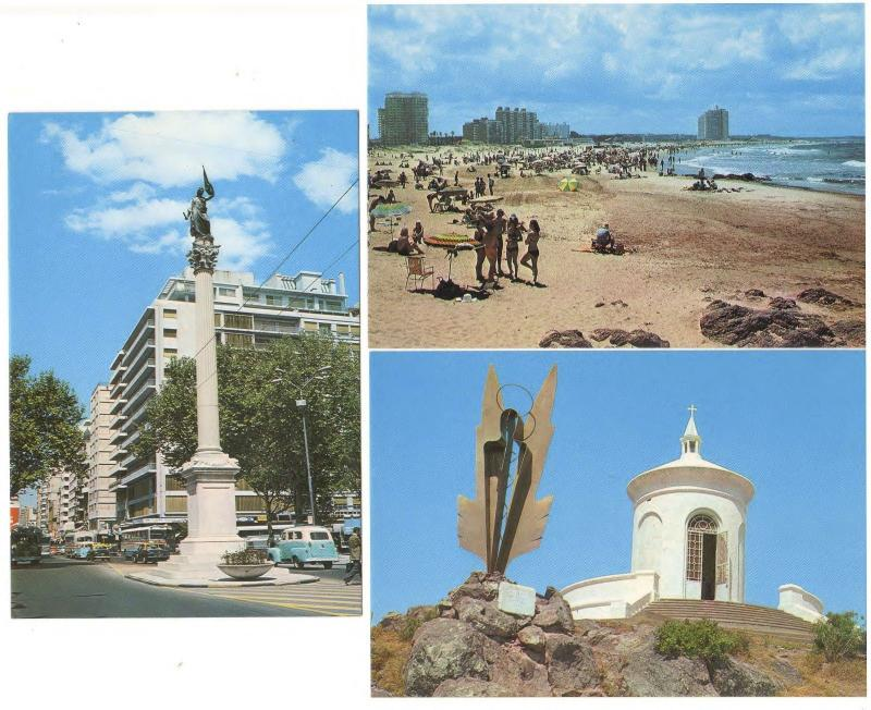 URAGUAY SCENES of PUNTE DEL ESTE, PLAZA LIBERTAD, LITTLE CHURCH ON HILL LOT OF 3