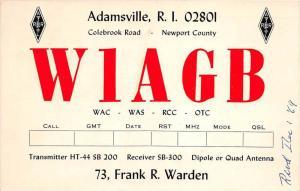 Adamsville, R.I. W1AGB, 73, Frank R. Warden, Transmitter, Receiver, Dip...