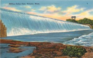 Holyoke Massachusetts~Million Dollar Dam~1940s Linen Postcard
