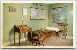 Portland Maine~Longfellow's Old Home~Boys Room~Maps on Walls~1910 Detroit Pub Co