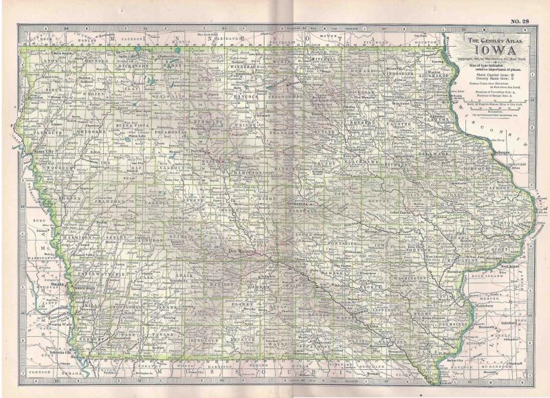 VINTAGE MAP Iowa c1897 from Century Atlas