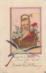 BIRTH ANNOUNCEMENT, PU-1915; Glad it's a GIRL, Baby in basket, Stork