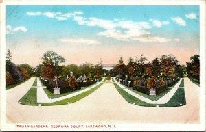 Postcard NJ New Jersey Lakewood Italian Gardens Georgian Court Unposted