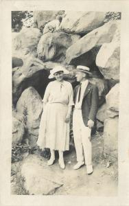 Gordon Park Boulders: Boater Hat, Jacket, White Pants~Wife in White~RPPC 1921