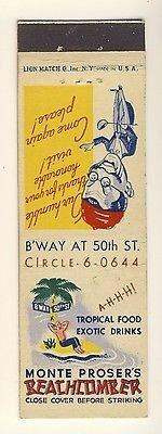 Vintage New York, NY Match Cover, Monte Proser's Beachcomber Restaurant,...