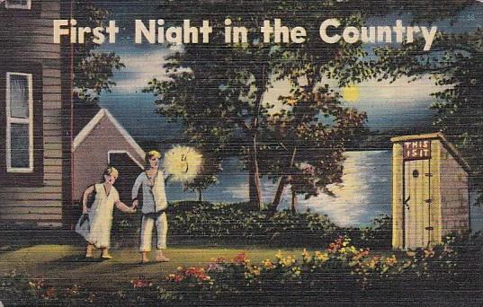 Humour Outhouses Young Couple First Night In The Country 1942
