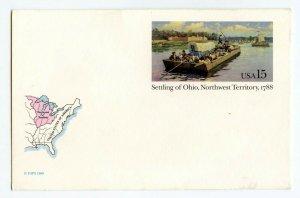 ©1988 Unused 15 Cent Postcard Settling of Ohio Northwest Territory 1788