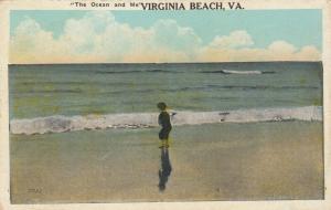 VIRGINIA BEACH , Virginia, 1900-10s; Little Boy at ocean's edge