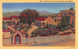 Mission San Juan Capistrano, California, Early Postcard, Unused