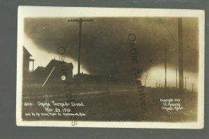 Omaha NEBRASKA RPPC 1913 TORNADO Cyclone Twister IN SKY Coming Down DISASTER