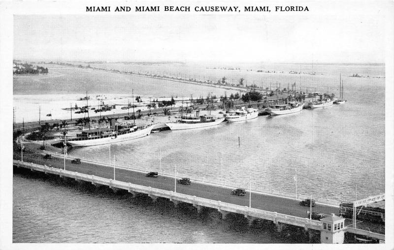 Miami Florida~Miami Beach Causeway Aerial View~Ships @ Dock~Bus & Cars~1940s Pc