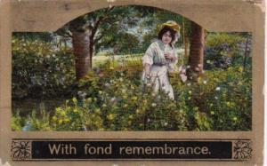 Beautiful Woman In Garden With Fond Remembrance 1909