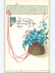 Pre-Linen art nouveau FORGET-ME-NOT FLOWERS IN BASKET WITH RIBBON HJ3678