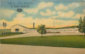 St Cloud Minnesota~Swiggum's Motel~Motor Court~Garages~1951 Linen Postcard