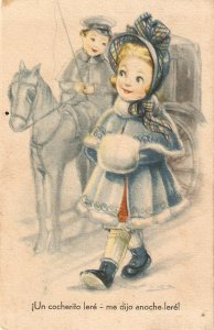 Coachman inviting lady. Horse Nice vintage Spanish postcar