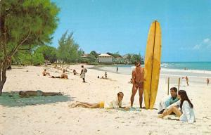 Rockley Barbados surfer beach bathers Accra Beach Hotel vintage pc Z51053