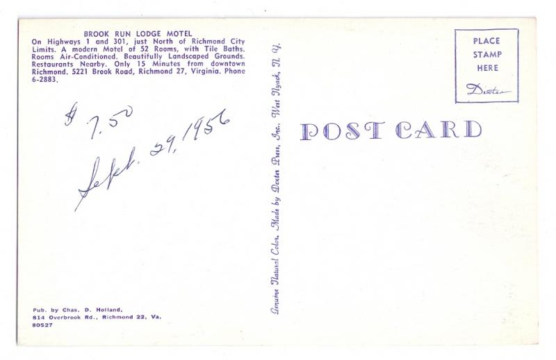 Richmond VA Brook Run Lodge Vintage Chrome Postcard Motel