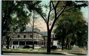Evanston, Illinois Postcard Clark Street Scene w/ Pearson Hall View 1910s Unused