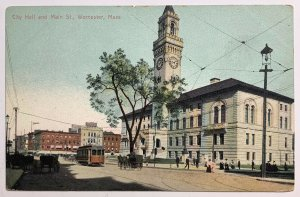 Old Divided Back Postcard City Hall and Main St. Worcester, Massachusetts Unused