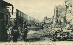 jamaica W.I., KINGSTON, Earthquake, Port Royal Street (1908) Postcard