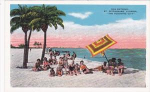 Sun Bathing Beach Scene St Petersburg Florida Curteich