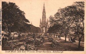 Vintage Postcard 1910's Scott Mont. & East Princes Street Gardens Edinburgh UK