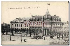 Old Postcard Vitry le Francois Bank Caisse d & # 39Epargne and Post Office