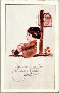 Girl at Mailbox Waiting for Letter Artist E Weaver c1923 Vintage Postcard A30