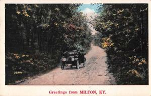 Milton Kentucky Greetings From car on country road antique pc Z43934