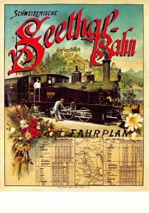 Postcard Schweizerische Seethal-Bahn Fahr Plan (1903) Reproduction Advert Card