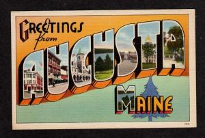 ME Greetings AUGUSTA MAINE Large Letter Postcard Linen