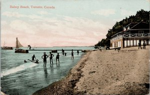 Balmy Beach Toronto Ontario On Children Unused Postcard G27