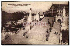 Postcard Old Marseille Escalier Monumental Gare Saint Charles