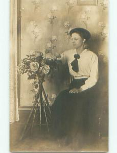 circa 1910 rppc MOUSY LOOKING WOMAN IN GLASSES WITH ROSE FLOWERS o2706