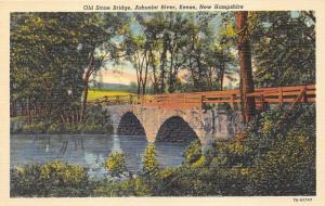 Keene New Hampshire~Old Stone Bridge on Ashuelot River~1937 Postcard