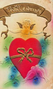 TO MY VALENTINE~GILT BANNER~LARGE RED HEART WITH GOLD RIBBON~AIR BRUSH POSTCARD
