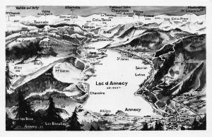France Lac d'Annecy Map landkarte mountains lake