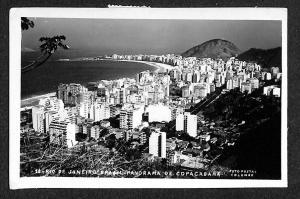 Copacabana Rio De Janeiro Aerial View Real Photo Postcard