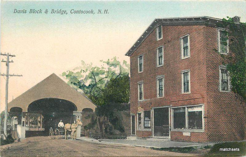 Davis Block Bridge C-1910 Contocook New Hampshire Metroplitan hand colored 5781