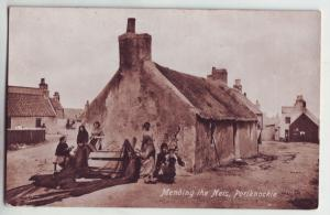 P899 valentines old card mending the fishing nets poriknockie scotland