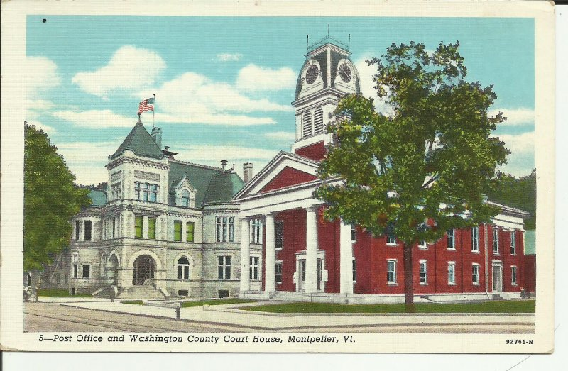 Montpelier, Vt., Post Office And Washington County Courthouse