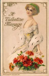 John Winsch Valentine~Pretty Blonde~Lime Headband~Ermine Boa~Embossed Art~1913