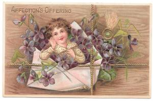 Affections Offering Child in Envelope Forget Me Not Postcard