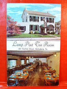 Postcard PA Gettysburg Lamp Post Tea Room