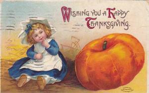 Wishing you a Happy Thanksgiving, Girl sitting next to pumpkin, PU-1910