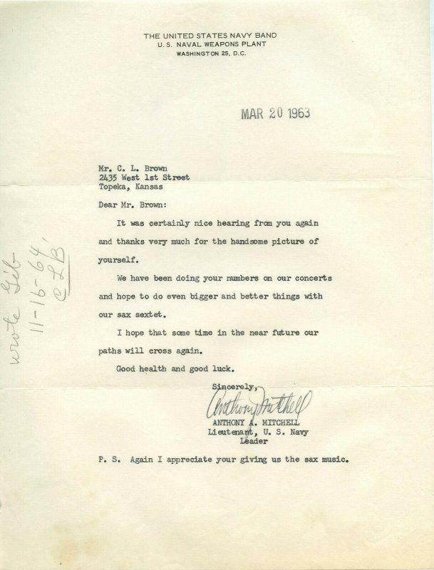 Letter From United States Navy Band Lieutenant Anthony A. Mitchell Leader 1963