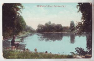 P1177 1909 used postcard fishing M,Murtie,s pond belvidere new jersey