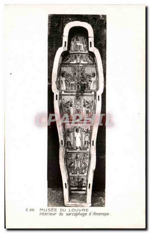 Old Postcard Musee Du Louvre From Sarcophagus Interior & # 39Amenope Egypt Egypt